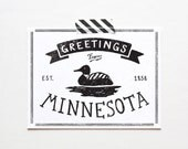 Screenprinted State of Minnesota Postcard