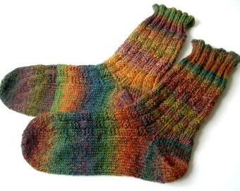 Handmade Wool Socks, hand knit socks, green, Hand knitted socks