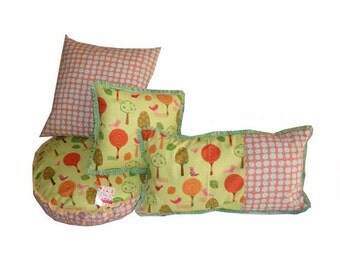 SALE -LAST SET 4 Amy Schimler Pillows On a Whim fabric pillows Cute Kids Pillows Yellow Green pillow Children Cushion Set Nursery Pillows
