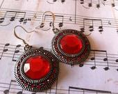 Gift Under 15 - Red Circle Gem Earrings - Art Deco Earrings - Gifts for Her - Rhinestone Earrings - Christmas Gift - Stocking Stuffer