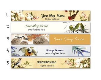 ETSY SHOP BANNERS Birdies 2 Etsy Shop Banners and 2 Etsy Shop Avatars