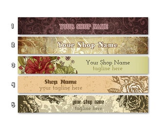 ETSY SHOP BANNERS Vintage 2 Etsy Shop Banners and 2 Etsy Shop Avatars