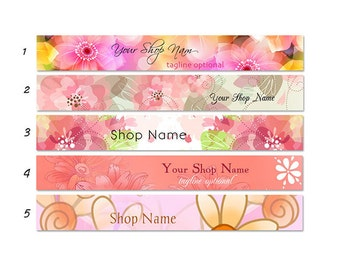 ETSY SHOP BANNERS Floral Theme 2 Etsy Shop Banners and 2 Avatars