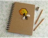 Honey Bee Notebook Honeycomb Aperture Nature Journal A5 kraft notepad MADE TO ORDER - Mythillogical