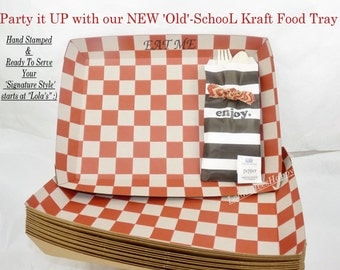Old-SchooL Checkered KRAFT PaRtY Food Trays,12  Snacks, carnival ,Movie Night /Sleepovers , Game Day, Tailgating, Football  Party Perfect