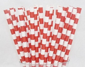 New RED Circles  25 Paper Straws, Paper Drinking Straws, Party,Circus, Carnival, cake pops, RETRO, Milkshakes & Birhday, Events, BirThDay