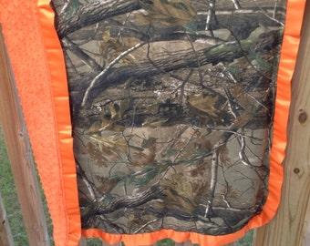 Realtree Camo n orange minky w orange satin trim