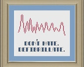 Don't hate, defibrillate: nerdy EKG cross-stitch pattern