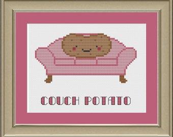 Couch potato: funny cross-stitch pattern