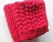Knitted Cotton Face & Body Cloths - Red
