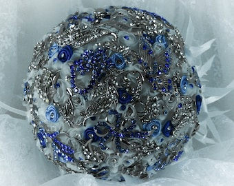 Blue, White and Silver  Wedding Brooch Bouquet, Bridal Bouquet, Rose Bouquet, Silk Wedding Bouquet, Bridesmaid Bouquet, Brides Bouquet