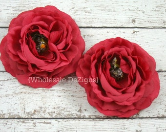 "Clearance Red Ranunculus Flowers - 3.5"" - Ruffled Sturdy Flowers"