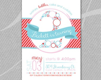 BUBBLES - Birthday Invitation - Printable  //  Red, Pink and Blue