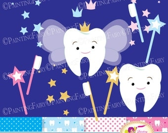 Tooth Fairy Clip Art Set Cliparts Cute teeth Pink Blue crowns stars fairy wings magic wands toothbrush element Digital Papers DIY pf00066-1b