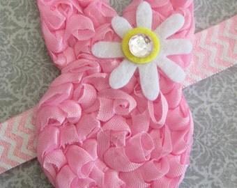Pink Bunny with Bling Daisy Headband or Clip