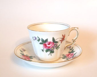 Vintage Crown Staffordshire Fine Bone China Teacup with Hand Painted Pink Roses - Mid Century - England