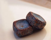 Polymer clay pair of textured blue and brown square discs