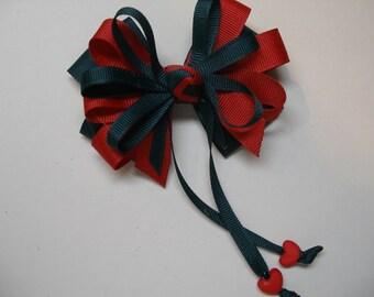 Dark Evergreen Spruce Hunter Green Red Hair Bow Sweetheart HEART School UNIFORM Boutique Streamers Tails Toddler Girl Grosgrain Handmade