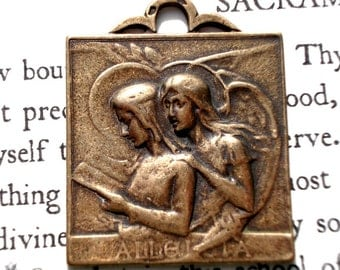 Annunciation Medal - French Replica Medal - Bronze or Sterling Silver - Catholic Medal - Made in USA  (M91-802)
