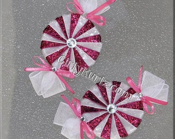 GLITTER Pink Peppermint Candy Hair Bow, Candy Hair Clip, Candy Bow, Hair Accessories
