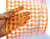 Orange Stars Extra Wide Shiny Iridescent Punchinella Sequin Waste Trim for Mixed Media Artists Punchinello Art Stencil ChristmasinJuly CIJ