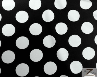 "Big Polka Dot Nylon Spandex Fabric - BLACK/WHITE - Sold By The Yard 58""/60"" Width"