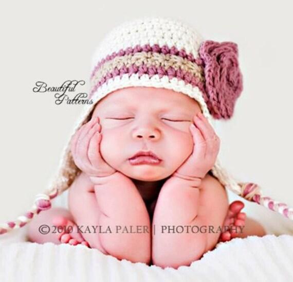 Crochet Hat PATTERN Photo Prop Baby Earflap by ...