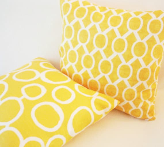 Items similar to Decorative Yellow Pillow Covers Two 18 X 18. Throw Pillows. Trendy Accent ...