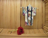 "5-inch ""Garden Tryst"" Kimono. Fabric Origami Kimono Ornament: Hang It or Frame It. Handmade. Tiny Japanese Flowers, Bamboo Maple"