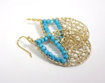 Turquoise Pendant Net Earrings by KarenWhalenDesigns