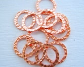Hammered Copper Rings 16mm Hoops Circles Metal Copper Plated Links Findings Wholesale Jewelry Supplies Best Online Supply CrazyCoolStuff