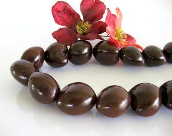 "Kukui Nut BEADS Full 16"" Strand Traditional Hawaiian Wedding Island Lei Brown Natural Material Wholesale Jewelry Supply CrazyCoolStuff"