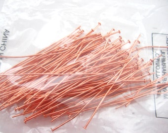 Raw Copper Headpins 2 inches Shiny Bright head pins 21 gauge 100  Findings Wholesale Bulk Jewelry Supplies Supply CrazyCoolStuff