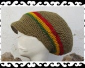 Dread Tam light olive red yellow green lined with brim Size M