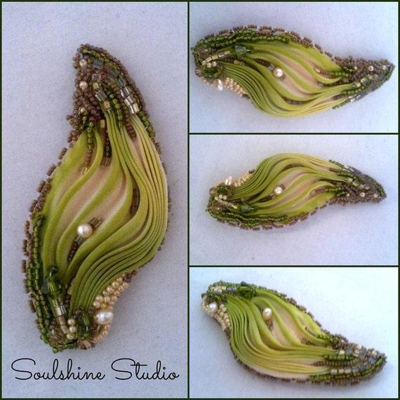 Shibori ribbon bead embroidered leaf brooch