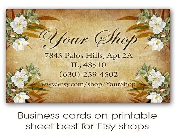 Etsy shop business cards on digital collage sheet by frezeart for Etsy shop business cards