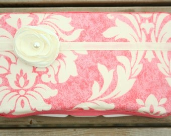 Baby Wipes Case - Stylish and Trendy Baby Wipes Cover - For Girls - Pink and Ivory Damask pattern with handmade flower, Lace, and Satin