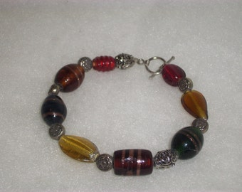 Handmade Beaded OOAK BRACELET Jewelry Silver Plated Clasp Made With Muli-Colored Glass Beads