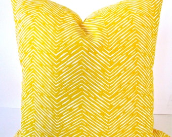 CHEVRON PILLOW Throw Pillow Cover YELLOW Decorative Throw Pillows 20x20 Contemporary Home and Living Home Decor Yellow Chevron Pillows