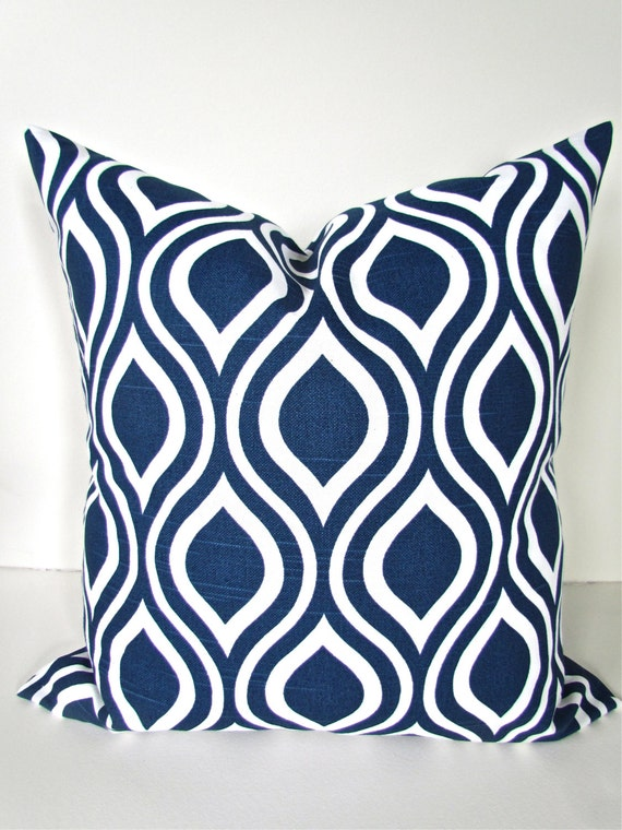DARK BLUE PILLOW 16x20 or 12x20 Decorative by SayItWithPillows