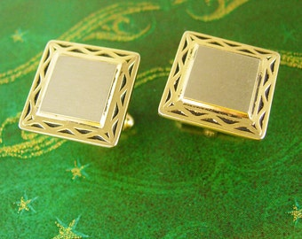 Two Tone Hickok USA Cufflinks Vintage Brushed Silver Gold Black Enamel Engravable Valentines Wedding