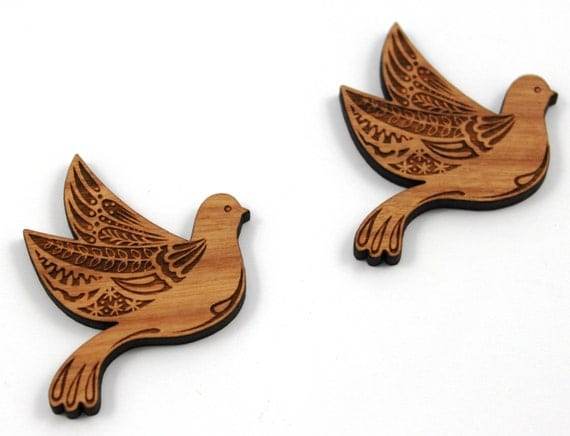 Laser Cut Supplies- 1 Piece.Pretty Bird Charms - Cherry Wood Laser Cut Bird -Brooch Supplies- Little Laser Lab Sustainable Wood Products