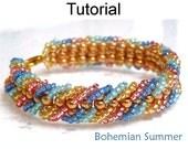 Beading Tutorial Pattern Bracelet - Embellished Ladder Stitch - Simple Bead Patterns - Bohemian Summer #1111