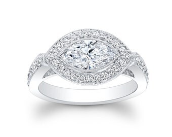 Ladies 14kt white gold Modern pave engagement ring 0.50 ctw G-VS2 diamonds with 1ct Marquise Center White Sapphire