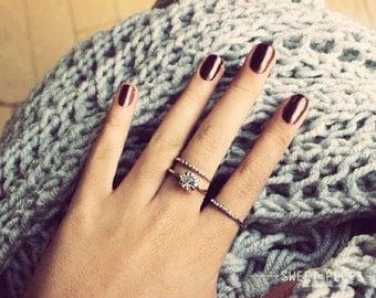 3 Silver Rings, Dainty Ring Set, Ring Set, Dainty Rings, Ring Band, Rhinestone Ring, Diamond Ring, Silver RIngs