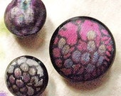 Painted glass buttons, vintage, 3 different black glass, painted, lilac, green, yellow and silver - imitation of textile. c1930's & c1960's.