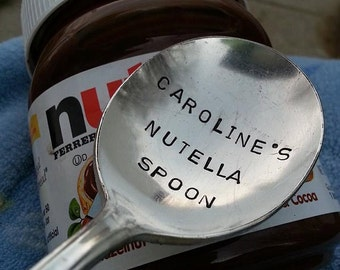 Personalized NUTELLA spoon, nutella lover, stamped spoon gift, hand stamped spoon, new soup spoon, birthday gift, anniversary, for her him