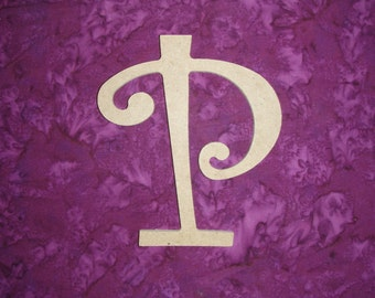"Unfinished Wood Letter P Wooden MDF Letters 6"" Inch Tall Curls"