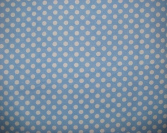 Blue and white flannel polka dots - white on light blue  - YARD