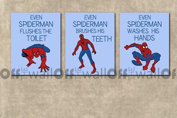 Unavailable listing on etsy for Spiderman bathroom ideas